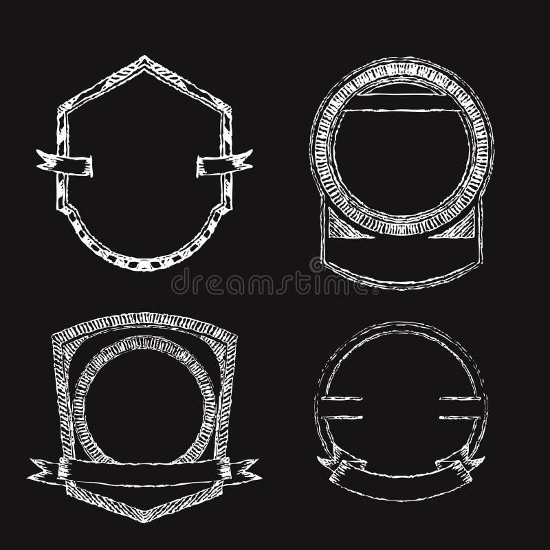 Cadres et labels de craie Ensemble de tableau tiré par la main illustration stock