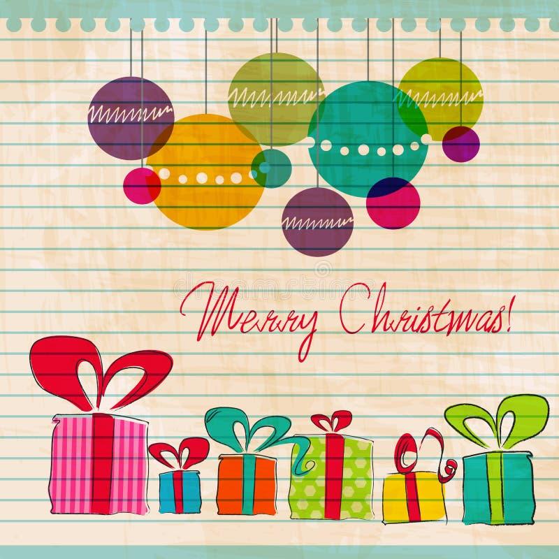 Cadres et ornements de cadeau mignons de Noël illustration libre de droits