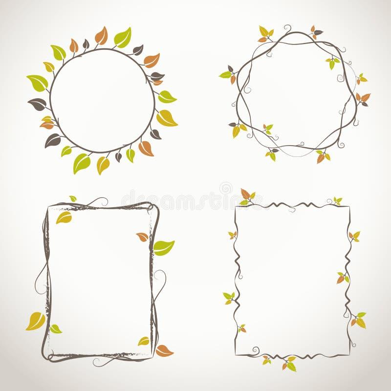 Cadres floraux avec des couleurs d'automne illustration stock