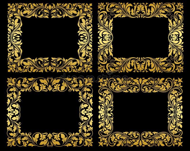 Cadres floraux d'or sur le fond noir illustration de vecteur
