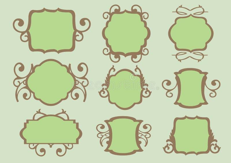 Cadres floraux de conception de cru illustration stock