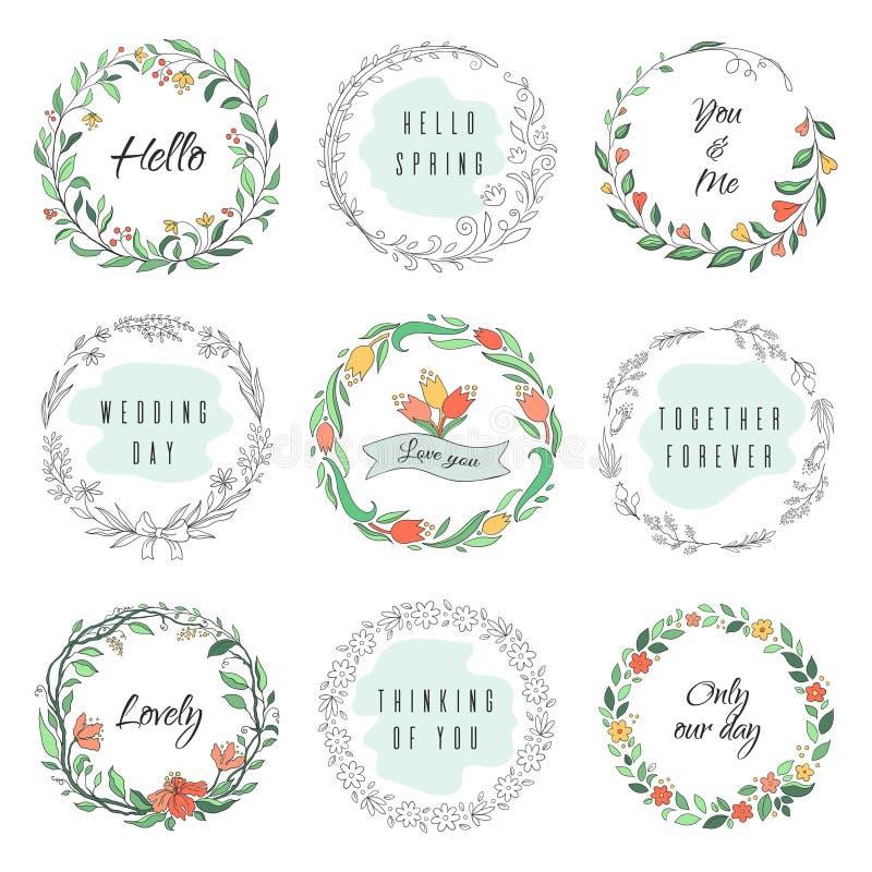 Cadres floraux de griffonnage de cercle La guirlande circulaire de laurier, s'épanouissent des frontières de monogramme, formes b illustration de vecteur