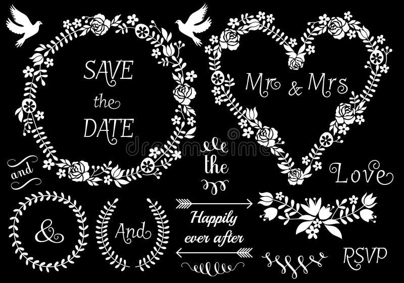 Cadres floraux de mariage, ensemble de vecteur illustration de vecteur