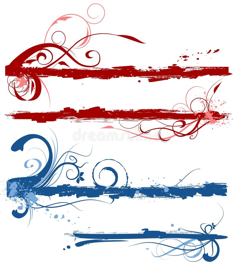 Cadres floraux grunges illustration stock