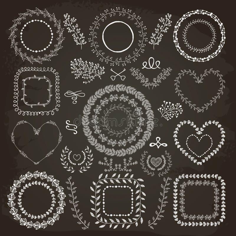 Cadres floraux tirés par la main illustration stock