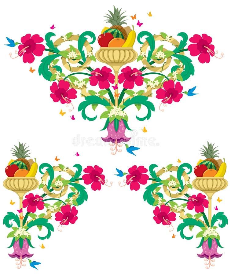 Cadres floraux tropicaux - rétro illustration libre de droits