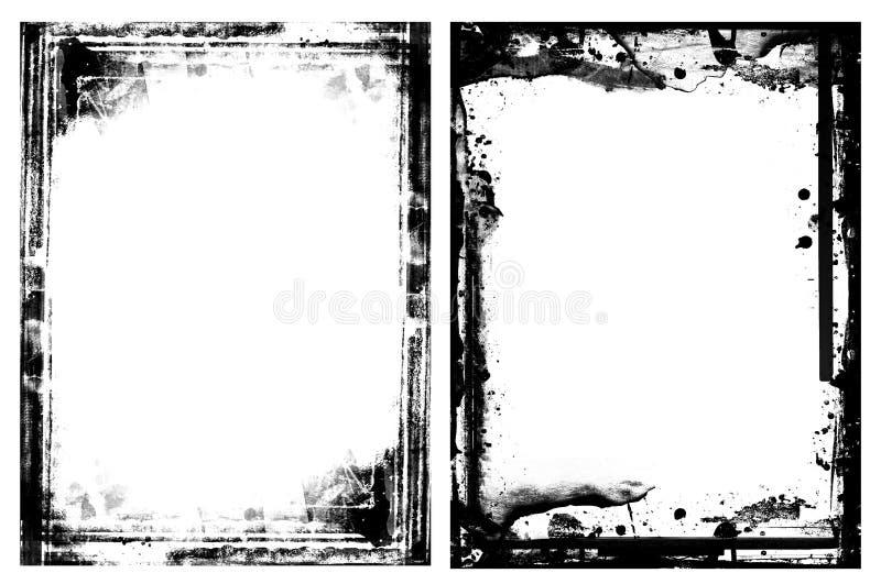 Cadres grunges d'isolement sur le blanc illustration stock