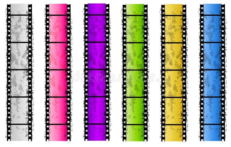 Cadres grunges de bande de film couleurs illustration libre de droits