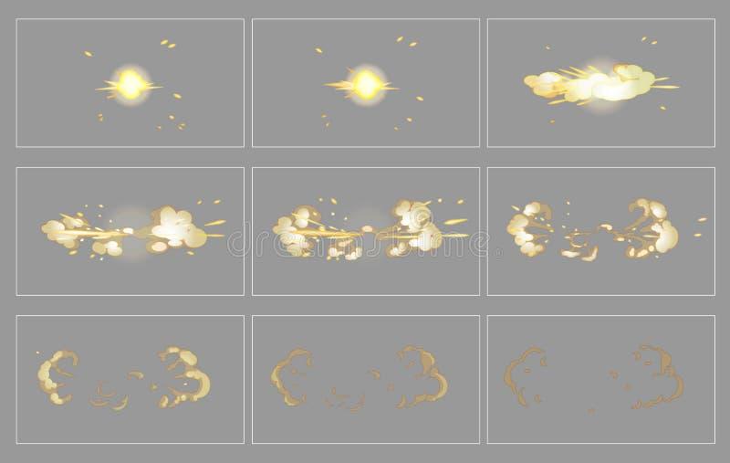 Cadres latéraux d'animation d'effet spécial d'explosion de brouillard illustration de vecteur