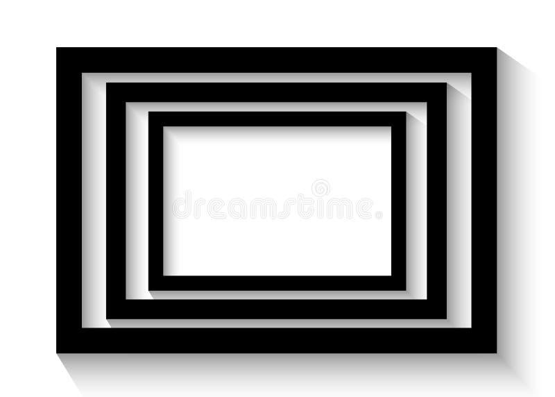 Cadres noirs abstraits Vue d'isolement sur le fond blanc pour vos présentations illustration libre de droits