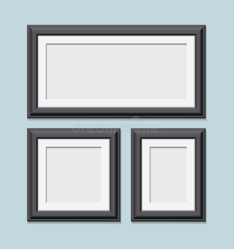 Cadres noirs carrés de photo réglés illustration libre de droits