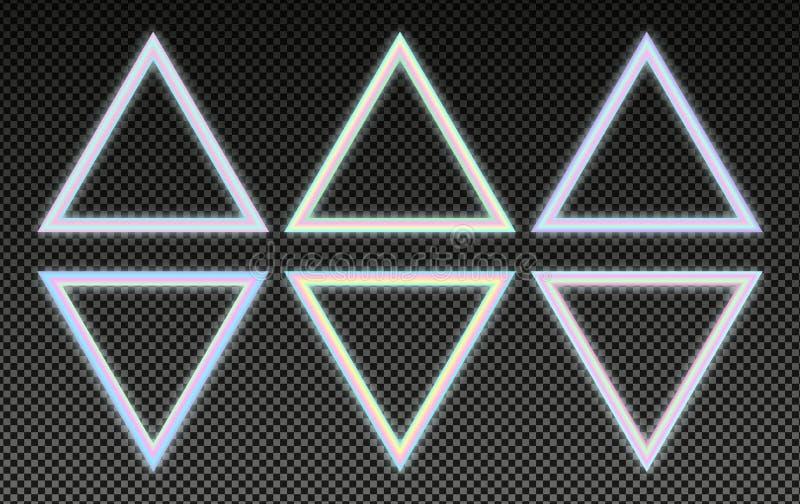 Cadres olographes triangulaires réglés dans le style psychédélique de vaporwave Éléments au néon rougeoyants de conception illustration stock