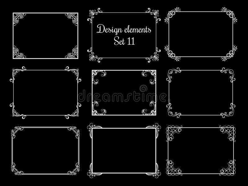 Cadres ornementaux décoratifs Frontières florales élégantes de vintage de vecteur illustration stock