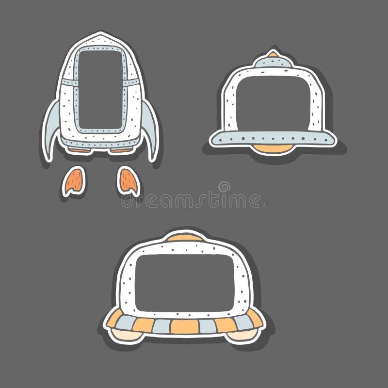 Cadres puérils tirés par la main - vaisseau spatial et UFO illustration de vecteur