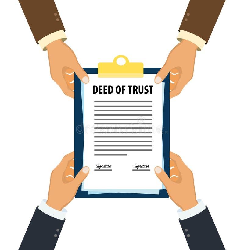 Cadres remettant le contrat du concept de document de confiance illustration stock