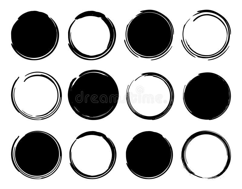 Cadres ronds à l'encre noire illustration de vecteur