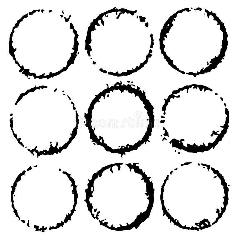 Cadres ronds d'encre de vecteur Label de cercle pour l'image Frontières noires grunges, d'isolement sur le fond illustration de vecteur