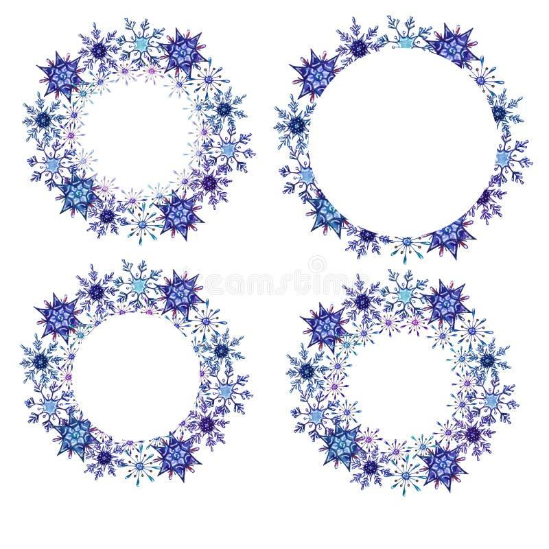 Cadres ronds de flocons de neige d'aquarelle réglés illustration de vecteur