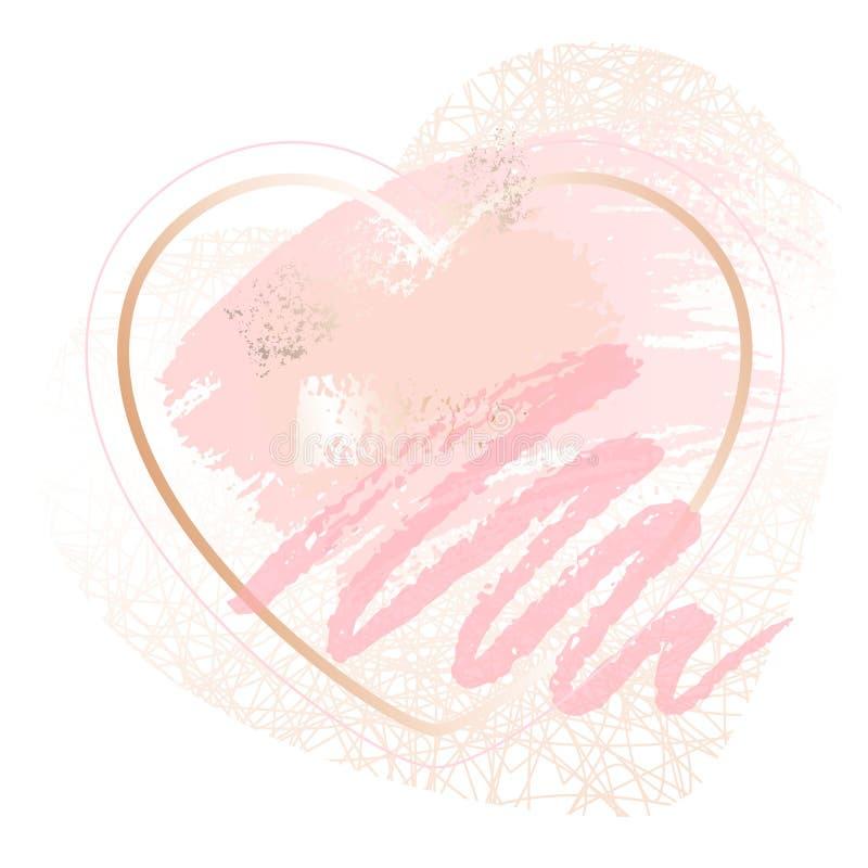 Cadres roses d'art de coeur d'or Design de carte moderne, course de brosse, lignes, points, or, brochure de la meilleure qualité, illustration de vecteur