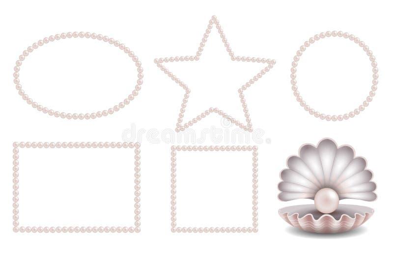 Cadres roses réglés de perle et pearlm rose dans la coquille illustration libre de droits