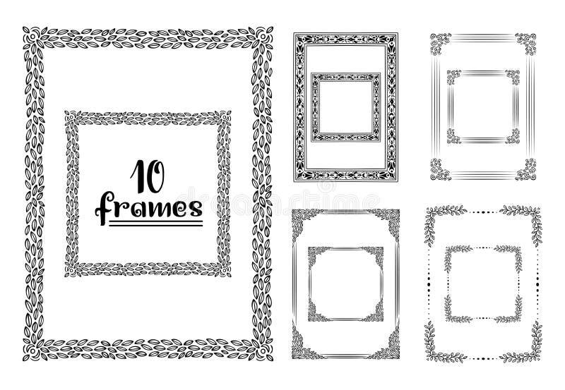 Cadres tirés par la main d'isolement Dirigez l'illustration noire et blanche de croquis, icône, griffonnage Version verticale et  illustration libre de droits
