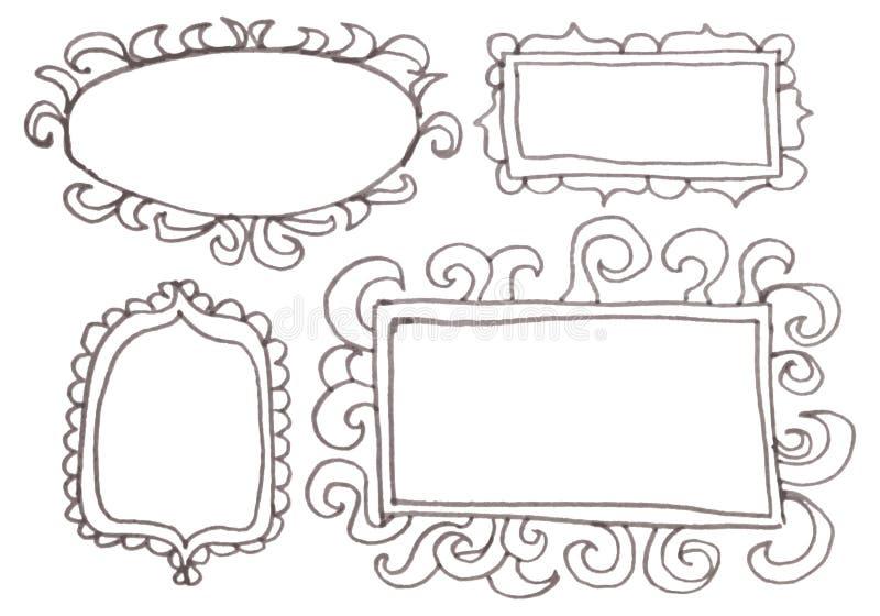 Cadres tirés par la main de stylo de felp-astuce. illustration libre de droits