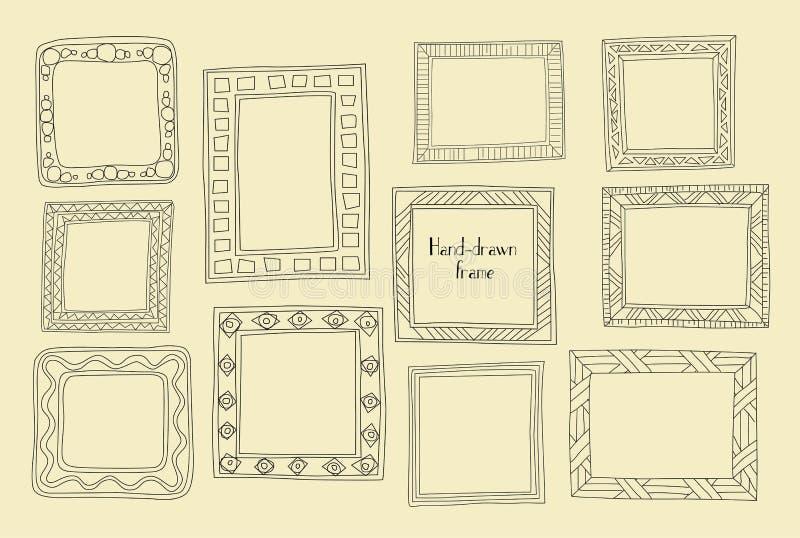 Cadres tirés par la main réglés Style de Grec de bande dessinée Diviseurs de vecteur, gra illustration de vecteur