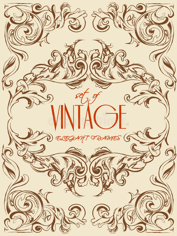 Cadres très élégants de vecteur de main-dessin de vintage pour la décoration, l'invitation, les calibres et autre ENV 10 illustration de vecteur