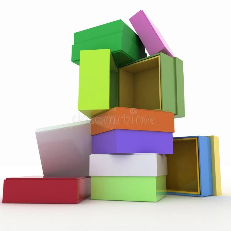 Cadres vides avec le cache pour des cadeaux illustration stock