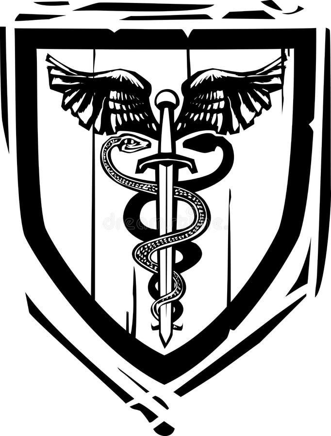 Caducée héraldique d'épée de bouclier illustration libre de droits