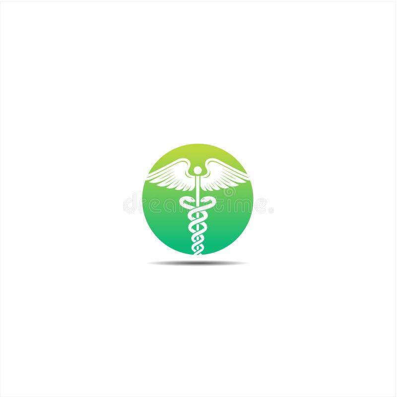 Caducée, icône de logo de caducée pour les illustrations conceptuelles de vecteur de soins de santé médicaux illustration libre de droits