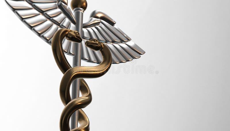 Caducée - le symbole médical, 3d rendent illustration libre de droits