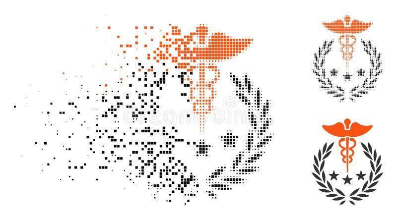 Caduceo de semitono disuelto Logo Icon de Pixelated stock de ilustración