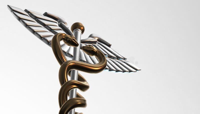 Caduceo - el símbolo médico, 3d rinde stock de ilustración