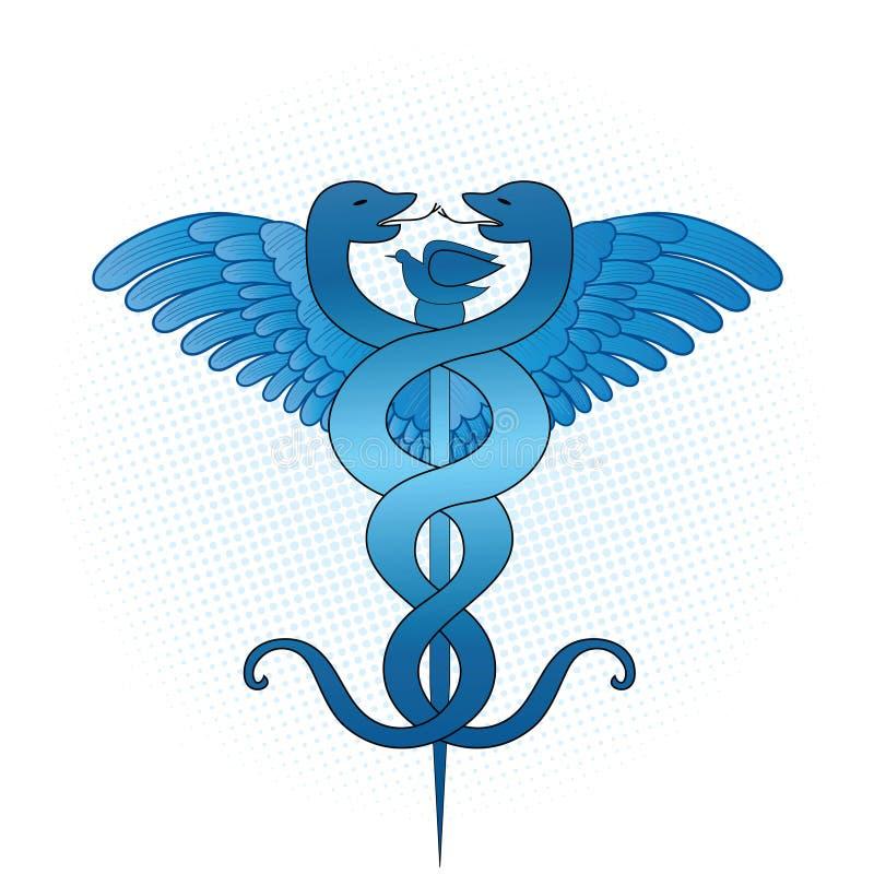 Caduceo médico stock de ilustración
