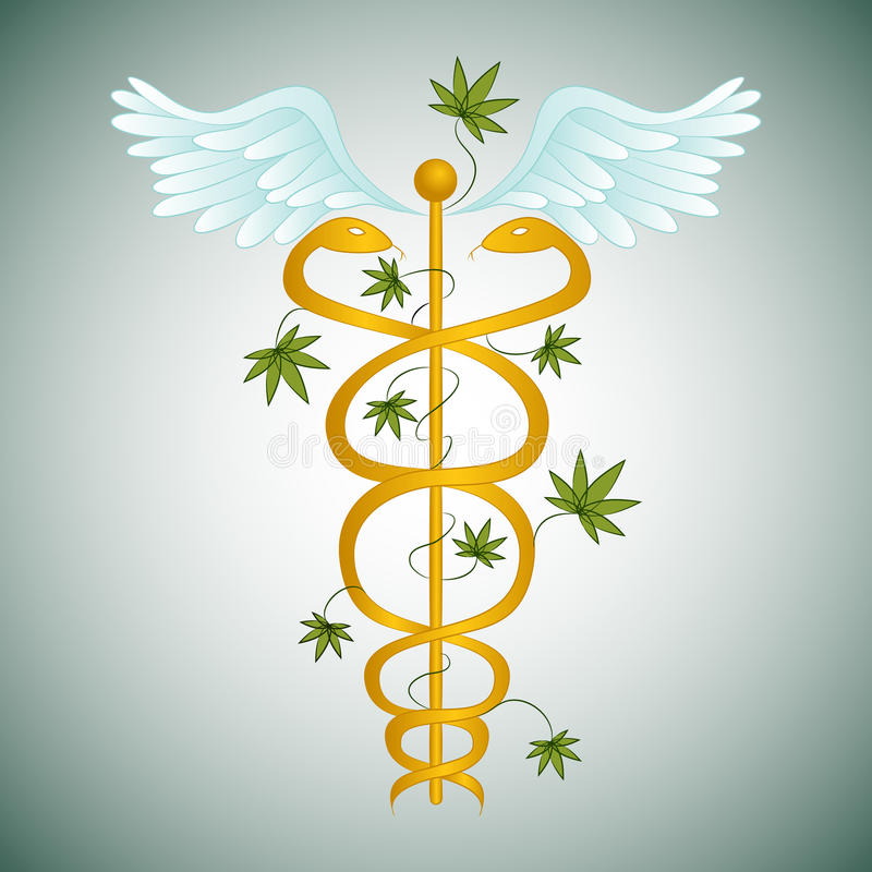 Caduceo médico de la marijuana libre illustration