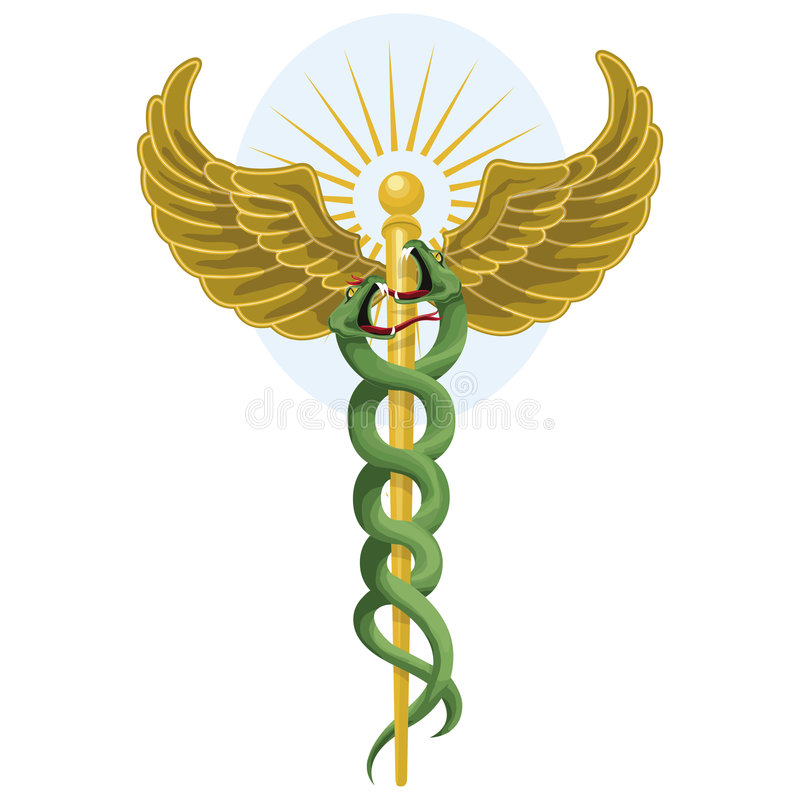 Caduceus with clipping path. Illustration with clipping path royalty free illustration