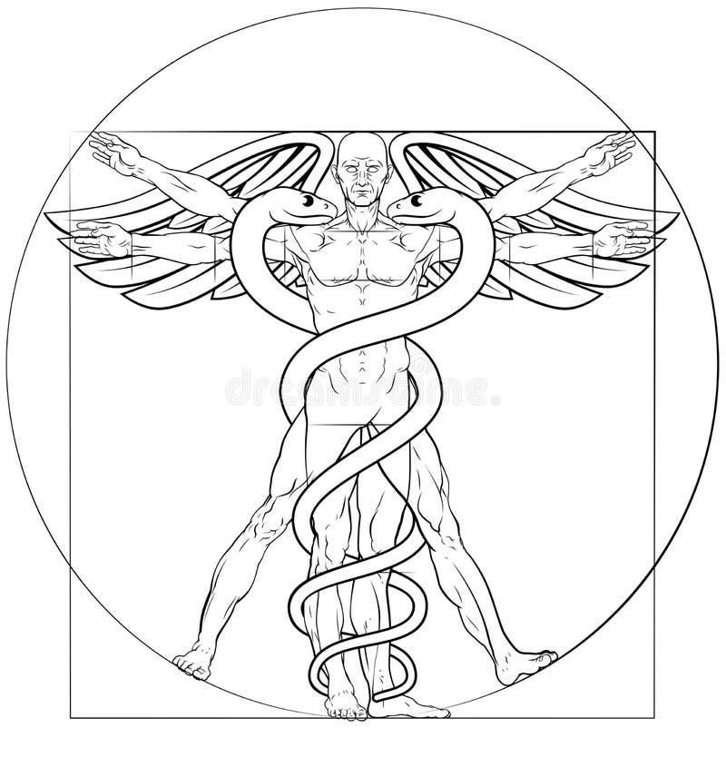 Caduceus do homem de Vitruvian ilustração do vetor
