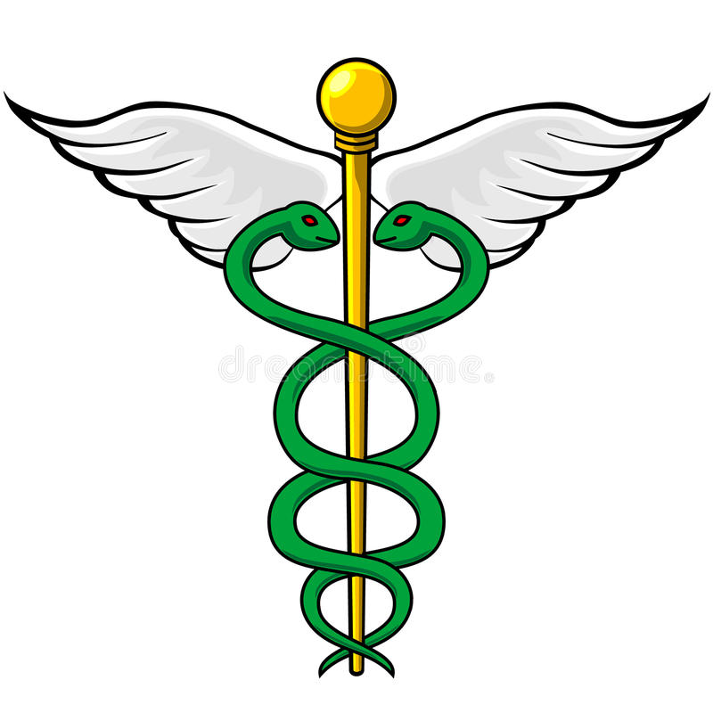 Caduceus. Emblem with twin snakes intertwined around winged staff royalty free illustration