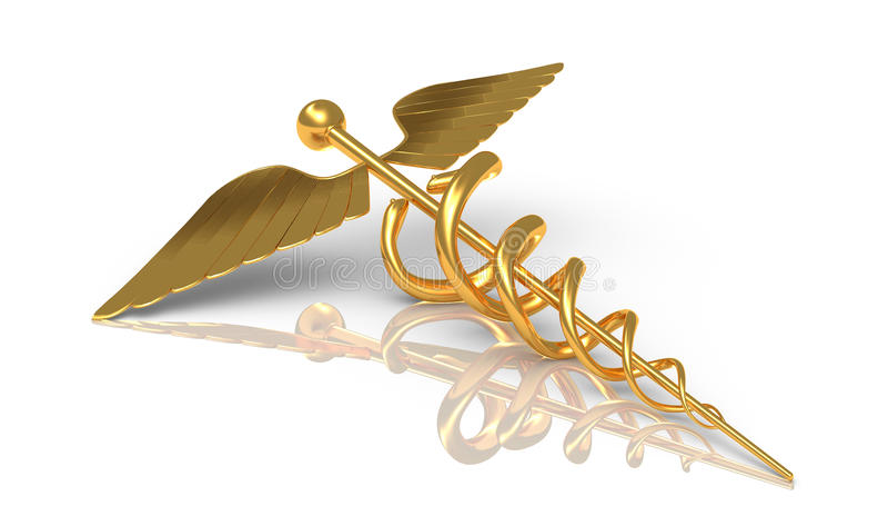 Caduceus i guld - Hermes det grekiska symbolet - stift med ormen royaltyfri illustrationer