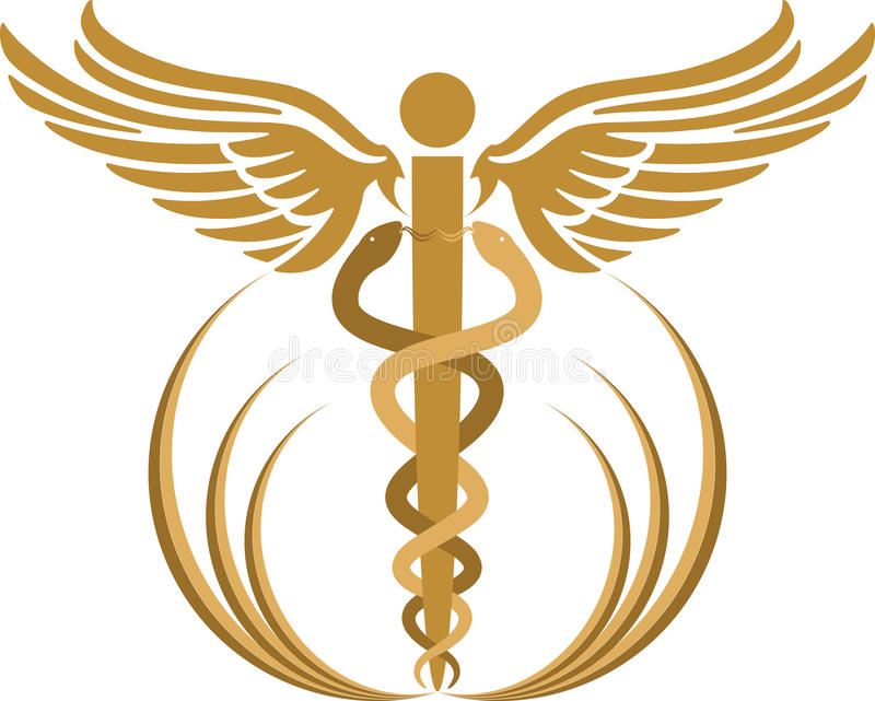 Caduceus logo. Illustration art of a caduceus logo with isolated background