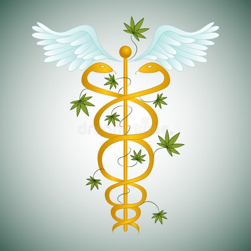 Caduceus médico da marijuana ilustração royalty free