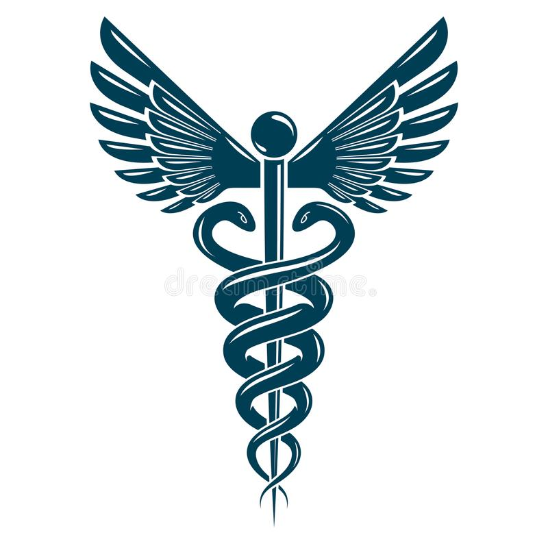 Caduceus Medical Symbol Graphic Vector Emblem Created With Wing