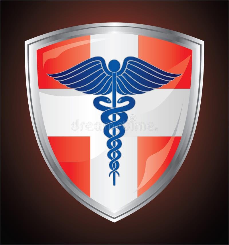 Caduceus Medical Symbol Shield. Illustration of a caduceus medical symbol on a red and white first aid shield stock illustration