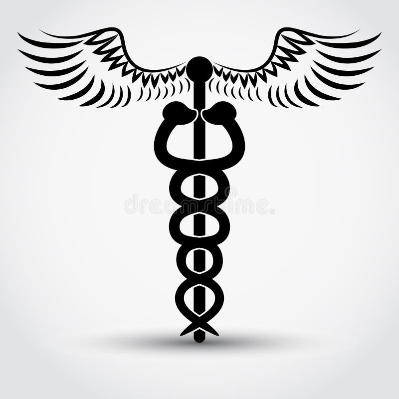 Caduceus - medicinskt symbol vektor illustrationer