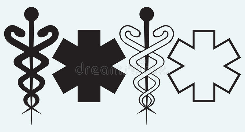 Caduceus. Medicinskt tecken stock illustrationer