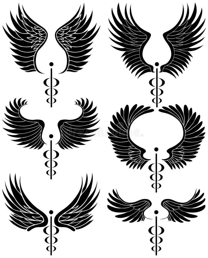 Caduceus-medizinisches Symbol - Set von 6 Schwarzweiss stock abbildung