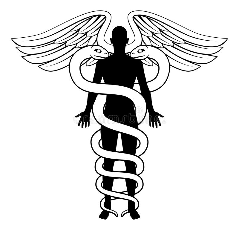 Caduceus Person Concept vektor illustrationer