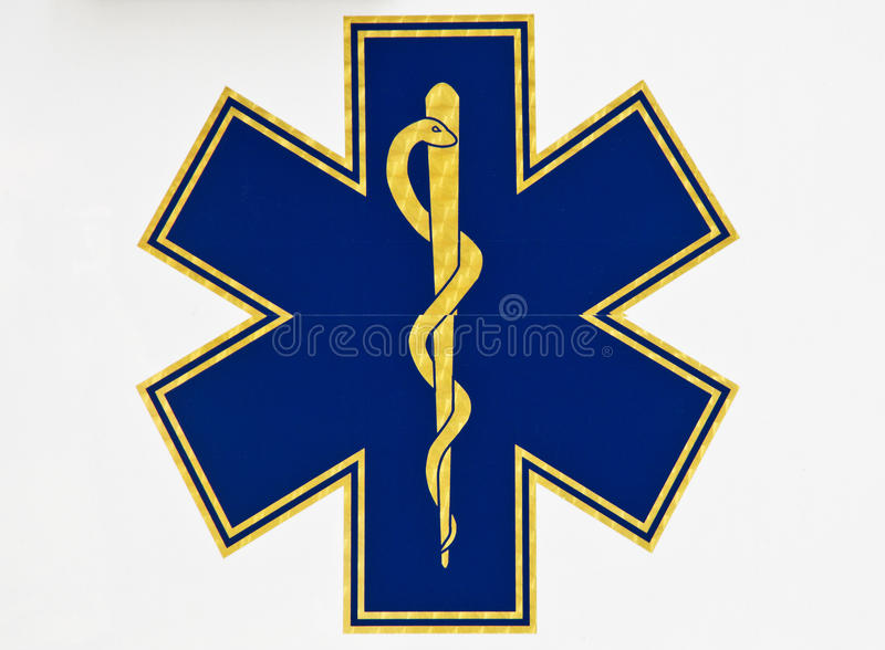 Caduceus sign. Medical caduceus sign on white background stock photography