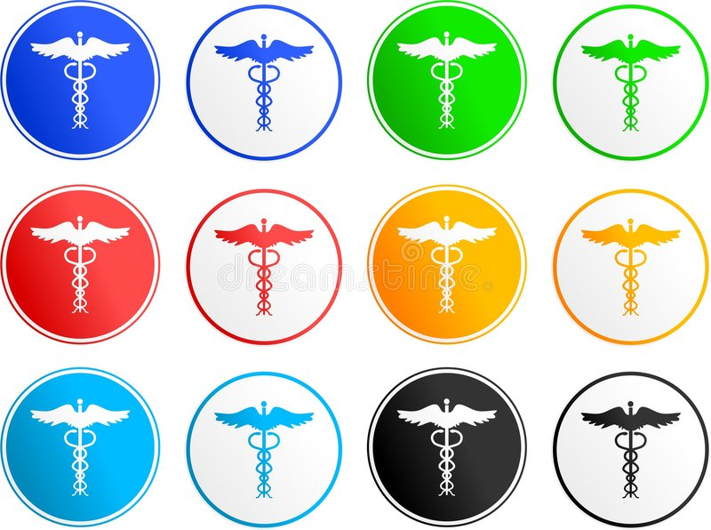 Caduceus sign icons vector illustration
